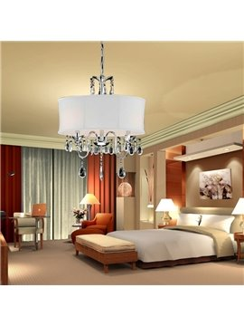 Amazing Crystal Fabric Shade Round Pendant Light