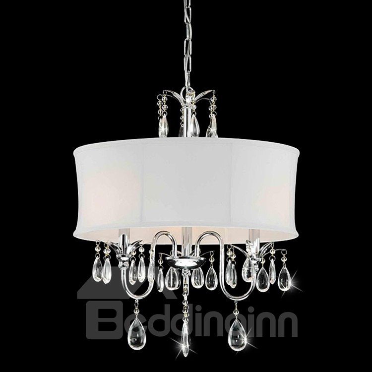 Amazing Crystal Fabric Shade Round Pendant Light ...
