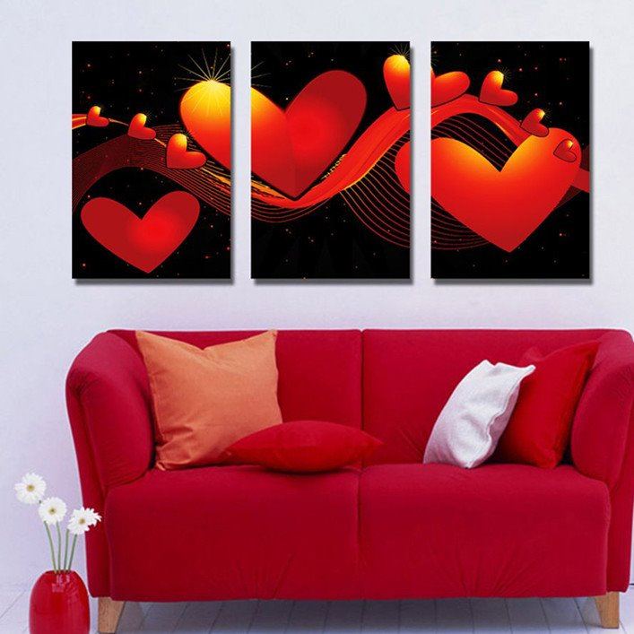 New Arrival Red Heart Canvas Wall Prints