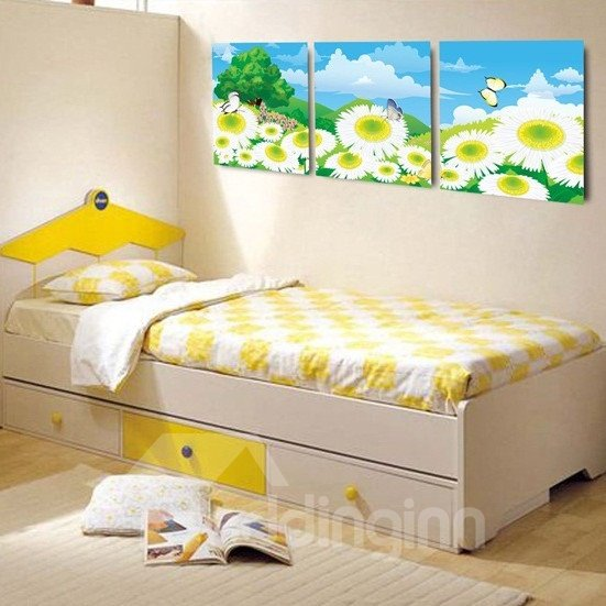 New Arrival Butterfly Flying Over Sunflowers and Blue Sky Canvas Wall Prints