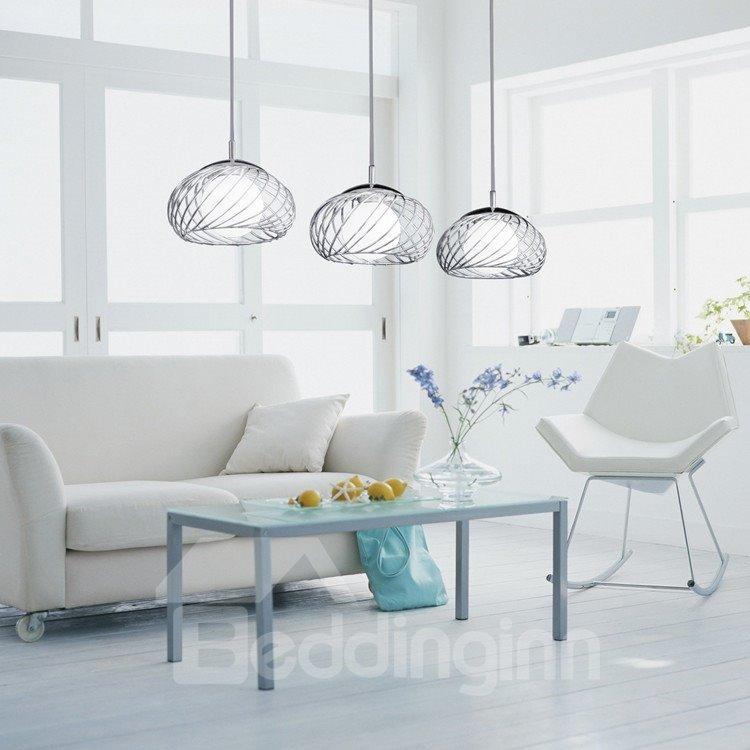 Amazing Net Metal Glass Shade 3 Lights Pendant