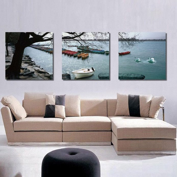 Simple Style Boat and Swan on Lake None Framed Canvas Wall Art Prints