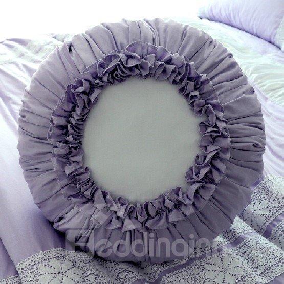 Romantic Purple Cotton Round Flower Decorative Throw Pillow - beddinginn.com