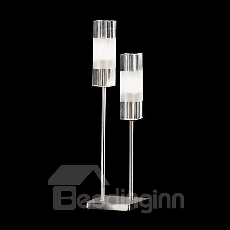 Fashionable Shining Metal Glass Shade 2 Lights Lamp
