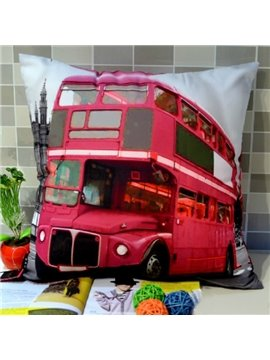 crazy red bus print 3d throw pillow
