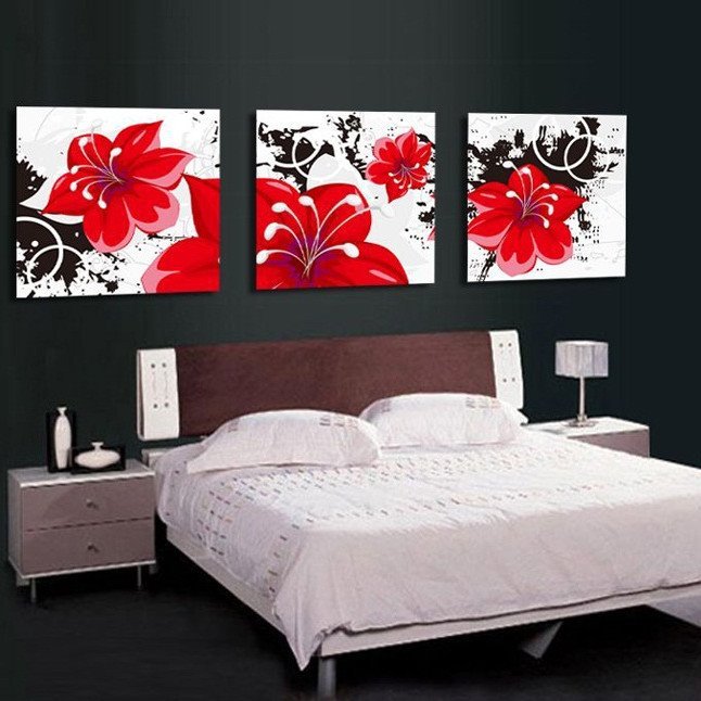 Blooming Red Flowers Pattern None Framed Canvas Wall Art Prints