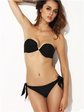 Tempting Black Metal V Decorative Bra Bikini