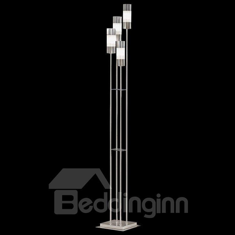 Fashionale Metal Glass Shade 4 Lights Floor Lamp