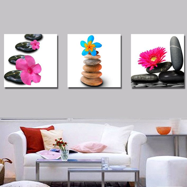 New Arrival Colorful Flowers on Stone Canvas Wall Prints
