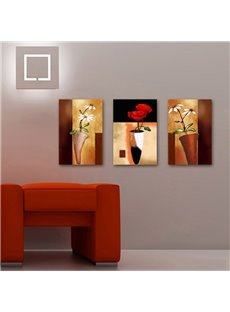 Red and White Flowers in Distinctive Bottle Pattern Canvas Wall Prints