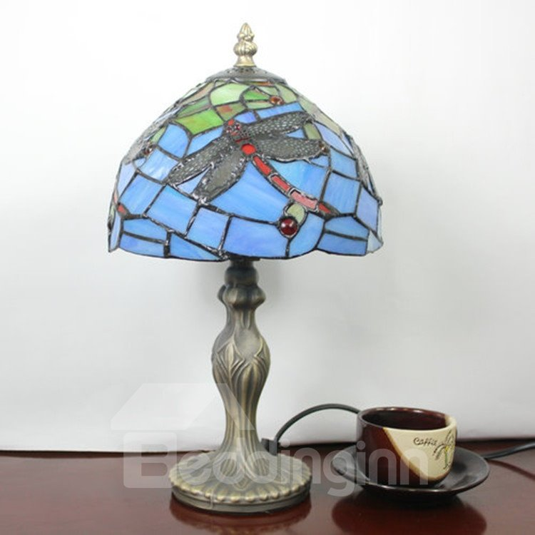 tiffany style dragonfly pattern stained glass table lamp beddinginn. Black Bedroom Furniture Sets. Home Design Ideas