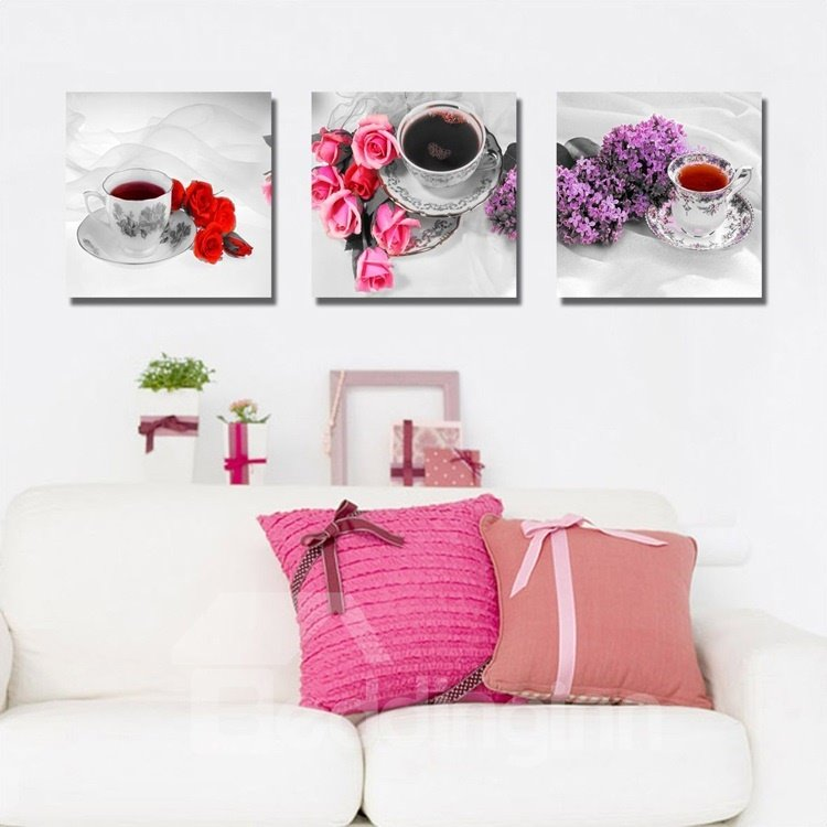 New Arrival Colorful Bright Flowers Beside Cups Canvas Wall Prints