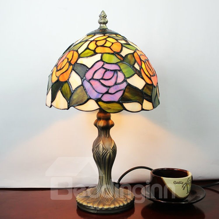 8-inch Tiffany Style Floral Pattern Stained Glass Table Lamp