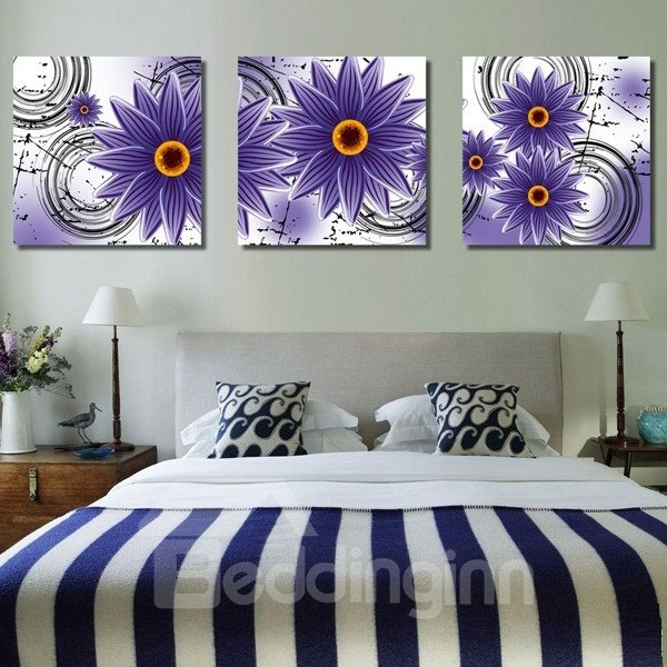 New Arrival Shiny Purple Flowers Blossom Canvas Wall Prints