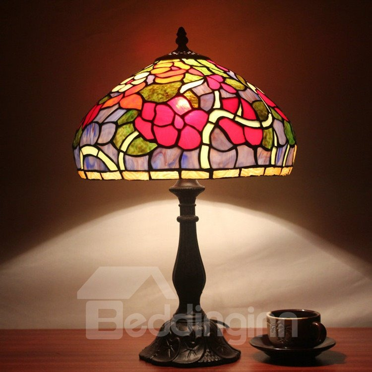 12 inch tiffany style floral pattern stained glass table for 12 inch table lamp