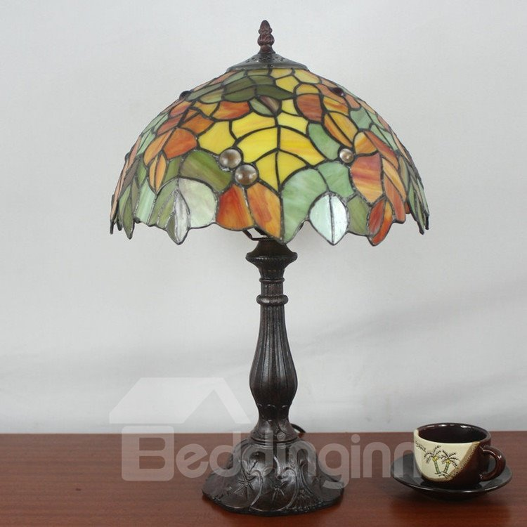 inch tiffany leaves pattern stained glass table lamp. Black Bedroom Furniture Sets. Home Design Ideas