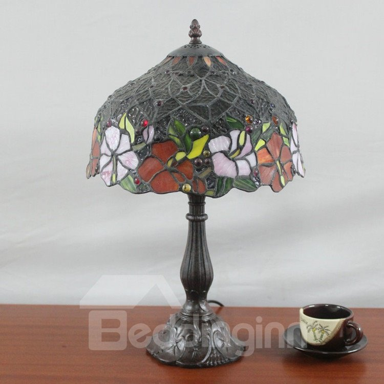 12 inch glamorous tiffany style floral pattern stained for 12 inch table lamp