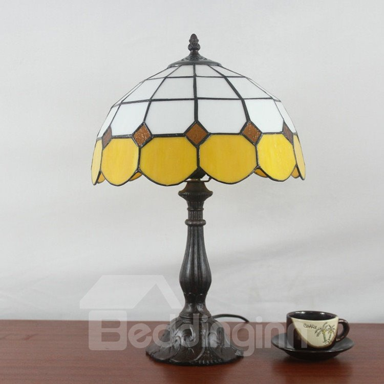 12-Inch Creative Simple Tiffany Style Check Pattern Stained Glass Table Lamp
