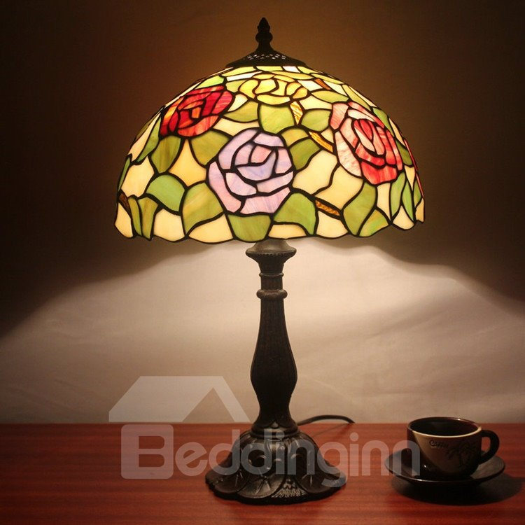 12 Inch Tempting Tiffany Style Floral Pattern Stained