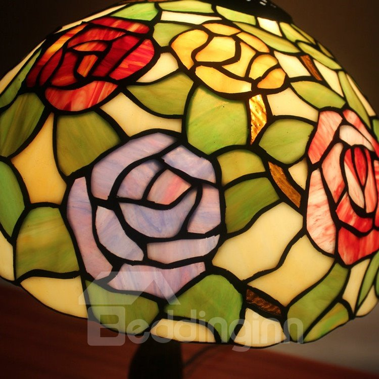 12 inch tempting tiffany style floral pattern stained glass table lamp. Black Bedroom Furniture Sets. Home Design Ideas