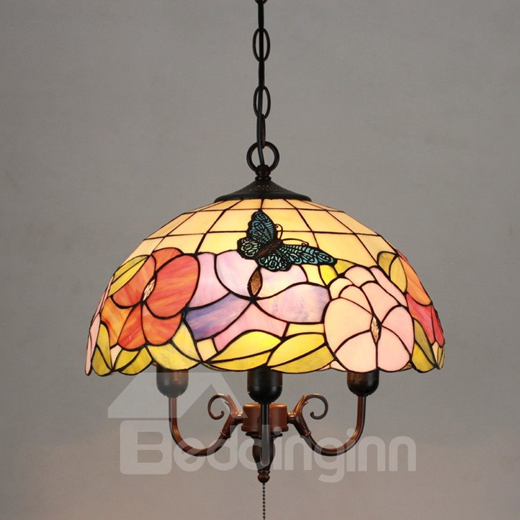 16-Inch Glamorous Pretty Butterfly Pattern Tiffany Stained Glass Pendant Light