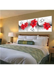 New Arrival Red Flowers and Geometric Figure Canvas Wall Prints