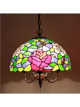 16 Inch Pretty Droaonfly aand Flower Pattern Tiffany Stained Glass Pendant Light