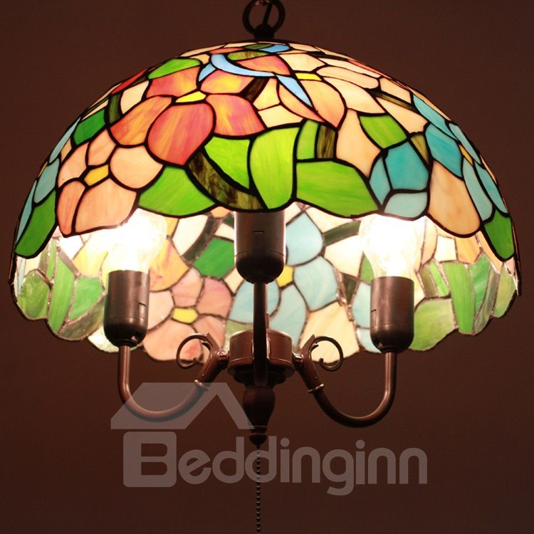 16-Inch Amazing Leaves Pattern Tiffany Stained Glass Pendant Light