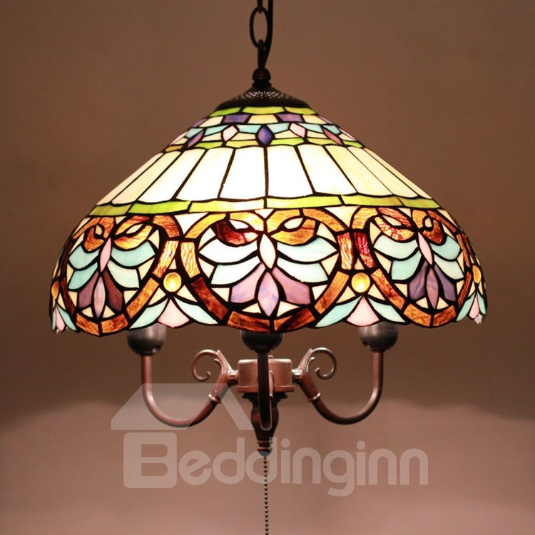 16-Inch Unique Pattern Tiffany Stained Glass Pendant Light