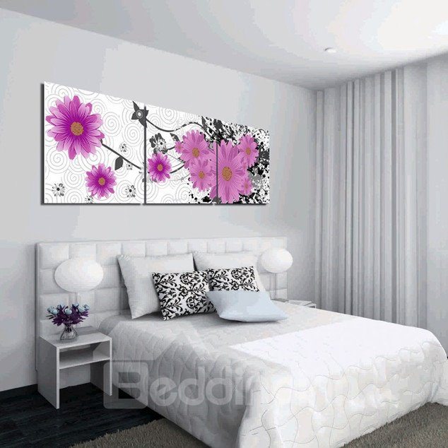 New Arrival Pink Cute Flowers Blossom Canvas Wall Prints