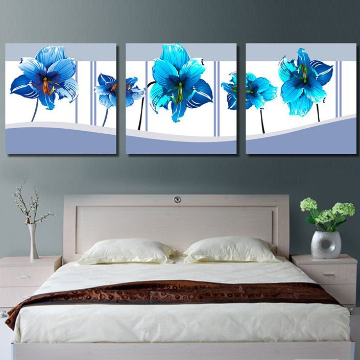 New Arrival Gorgeous Blue Flowers Blossom Canvas Wall Prints