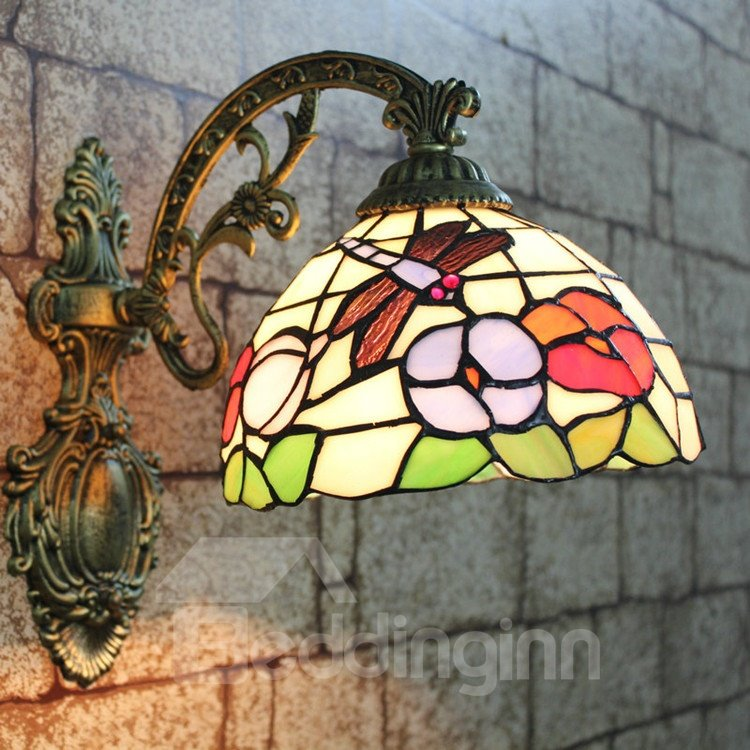 Stunning Tiffany Style Dragonfly and Floral Pattern Stained Glass Pocket Lantern