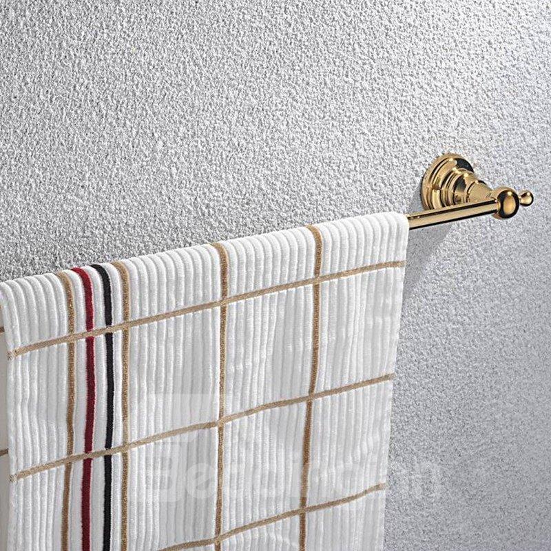 Contemporary Ti-PVD Finish Bathroom Accessories Brass Single Towel Rod