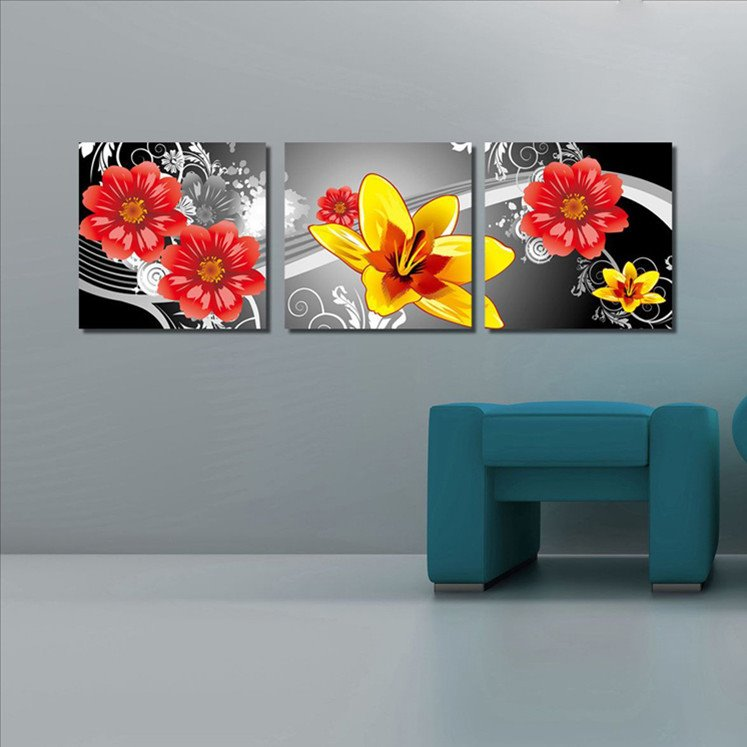 New Arrival Red and Yellow Blooming Flowers Canvas Wall Prints