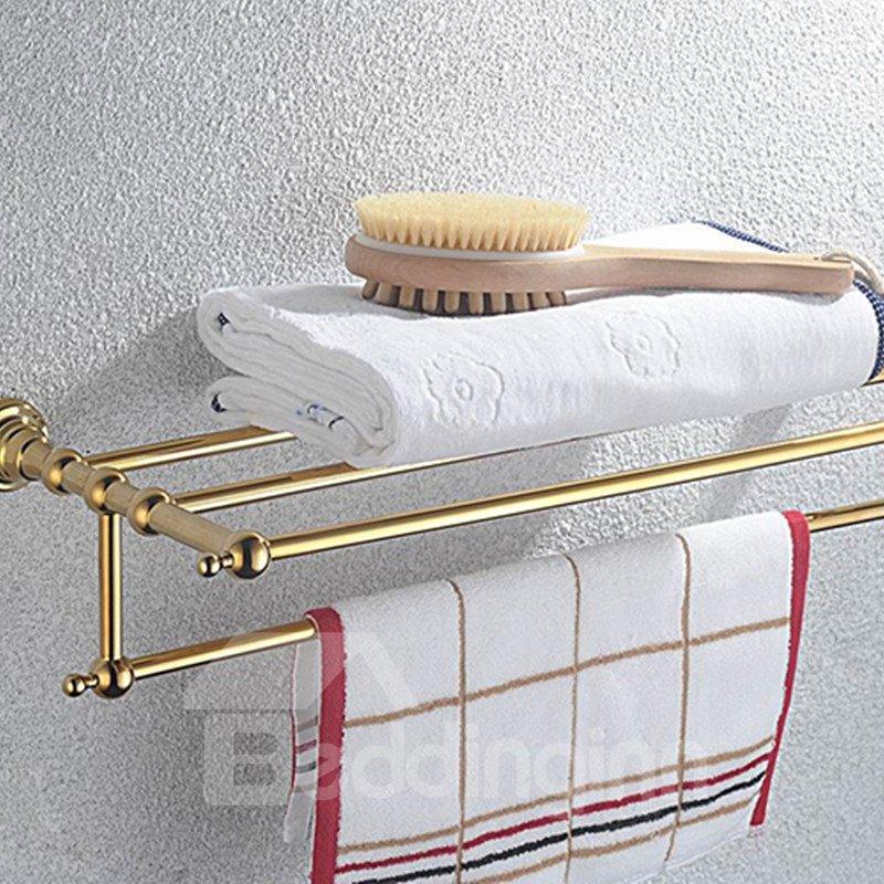 Contemporary Ti-PVD Finish Bathroom Accessories Brass Towel Rack