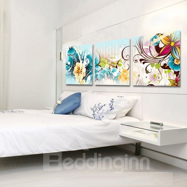 Colorful and Gorgeous Flowers Pattern Canvas Wall Art Prints