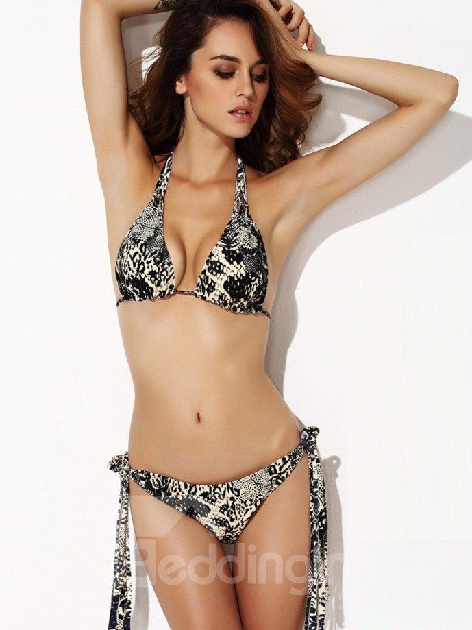 Snake Skin Tie Triangle Lace Up Halter Bikini