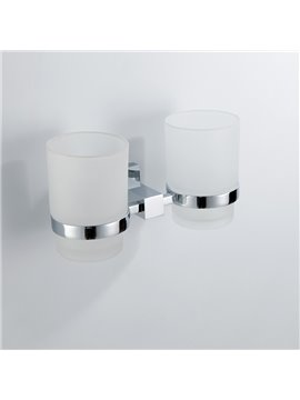 Contemporary Style Chrome Finish Wall Mounted Brass Double Cup Toothbrush Holder Rack