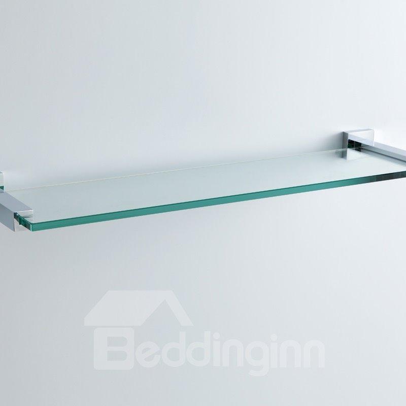Contemporary Style Chrome Finish Wall Mounted Brass Metal Guardrail Glass Shelf