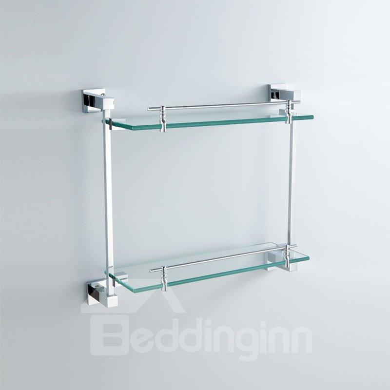 chrome finish brass wall mounted glass shelf. Black Bedroom Furniture Sets. Home Design Ideas
