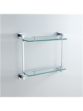 Chrome Finish Brass Wall Mounted Glass Shelf