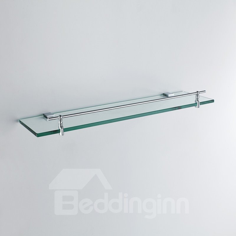 Contemporary Wall Mounted Metal Guardrail Brass Glass Shelf