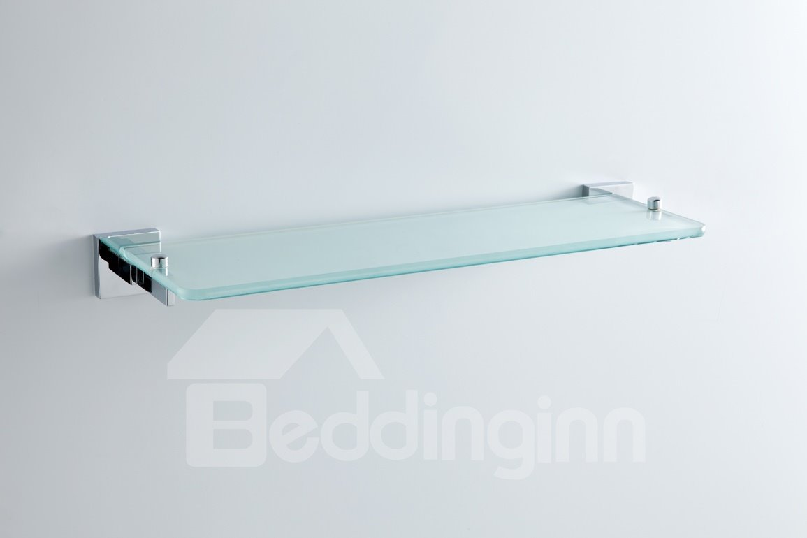 Contemporary Style Chrome Finish  Metal Guardrail Brass Glass Shelf
