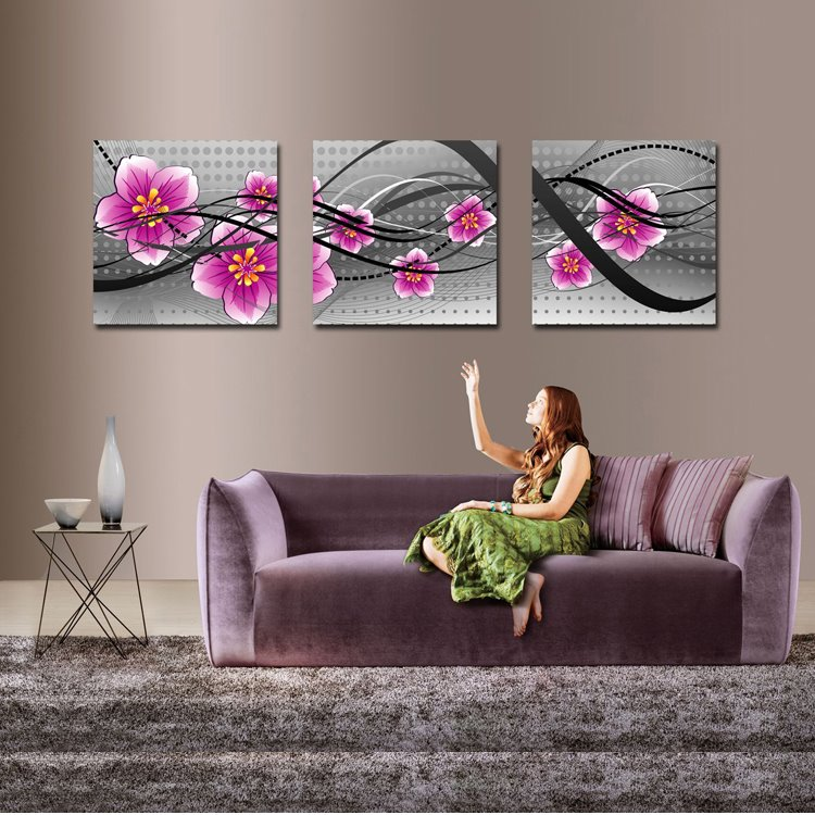 Simple Style Pink Blooming Flowers Pattern 3-pieces None Framed Canvas Wall Art Prints