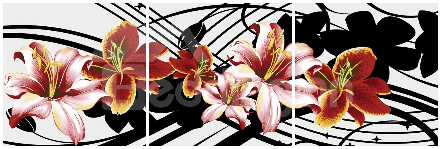 New Arrival Blooming Red and Pink Flowers and Geometric Figure Canvas Wall Prints