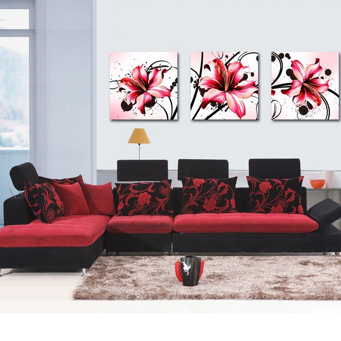 New Arrival Lovely and Blooming Flowers and Geometric Figure Canvas Wall Prints