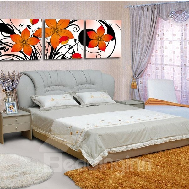 New Arrival Orange Elegant Flowers Blssom Canvas Wall Prints