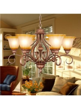 Bronze Iron Marerial Glass Shade 6 Lights Chandelier