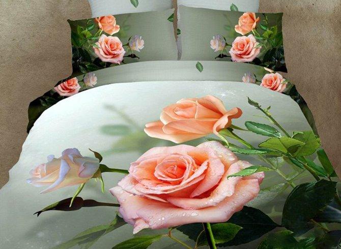 Beautiful Dewy Rose Print 3D Duvet Cover Sets