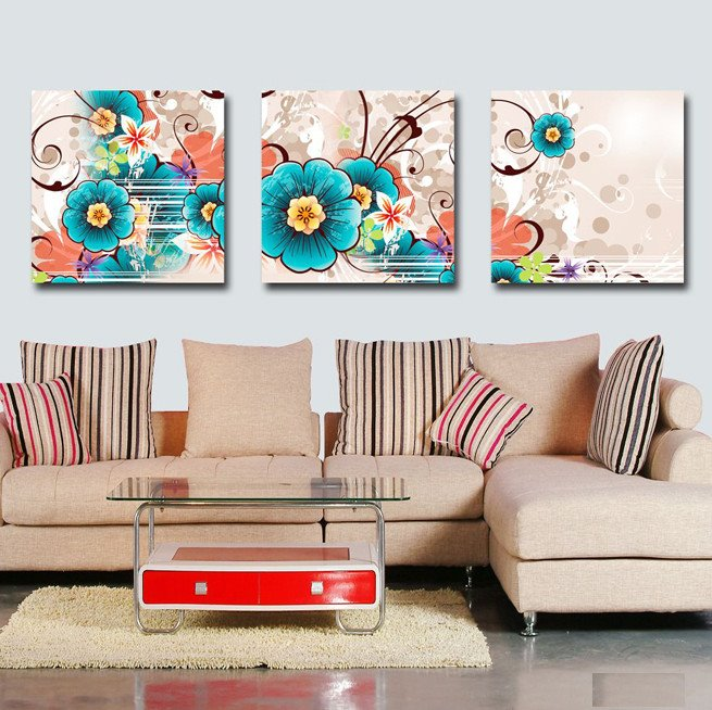 New Arrival Fancy Blue Flowers Canvas Wall Prints